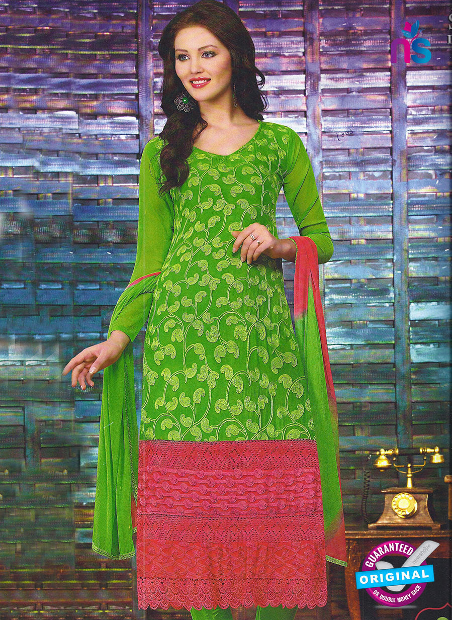 SC 12792 Green and Pink Embroidered Chiffon Party Wear Suit