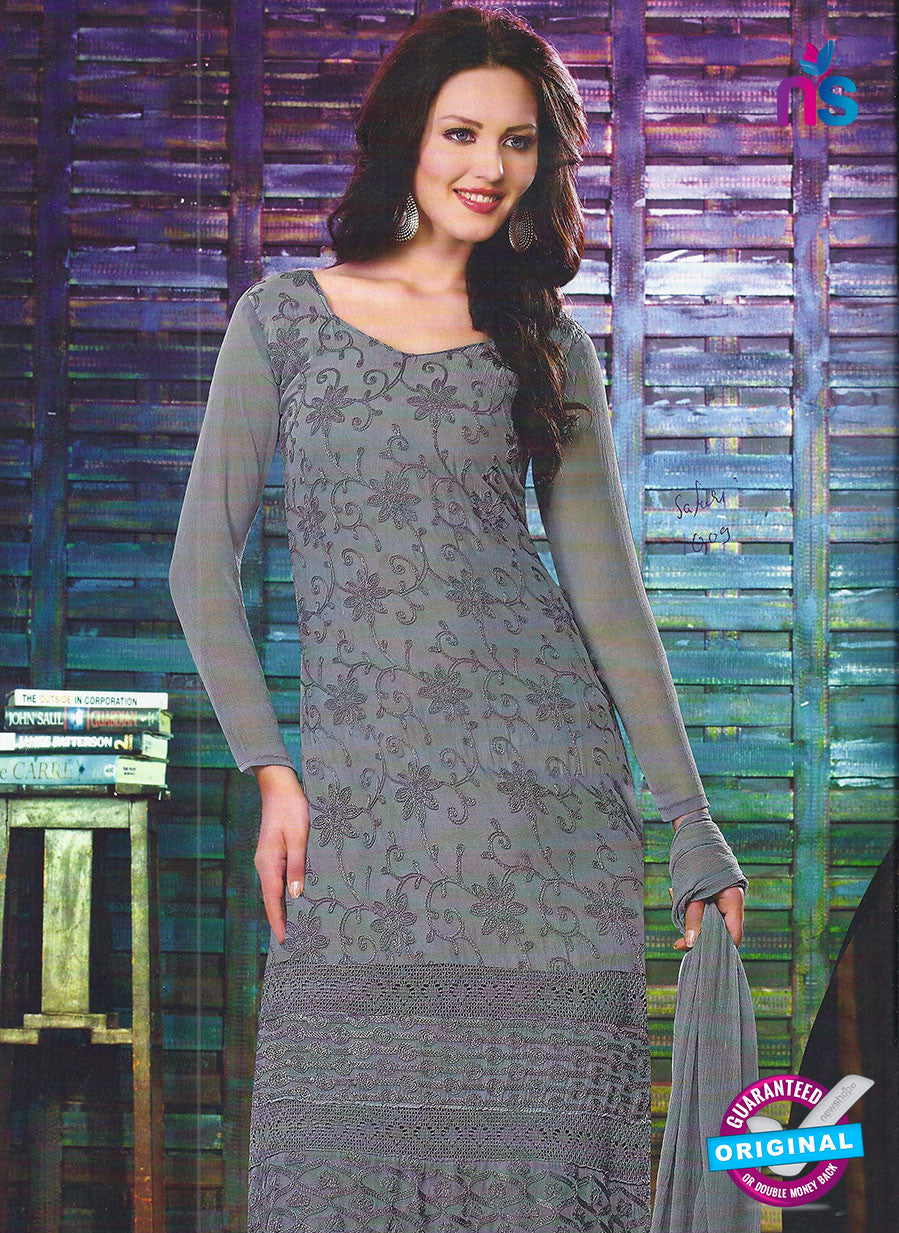 SC 12793 Grey Embroidered Chiffon Party Wear Suit
