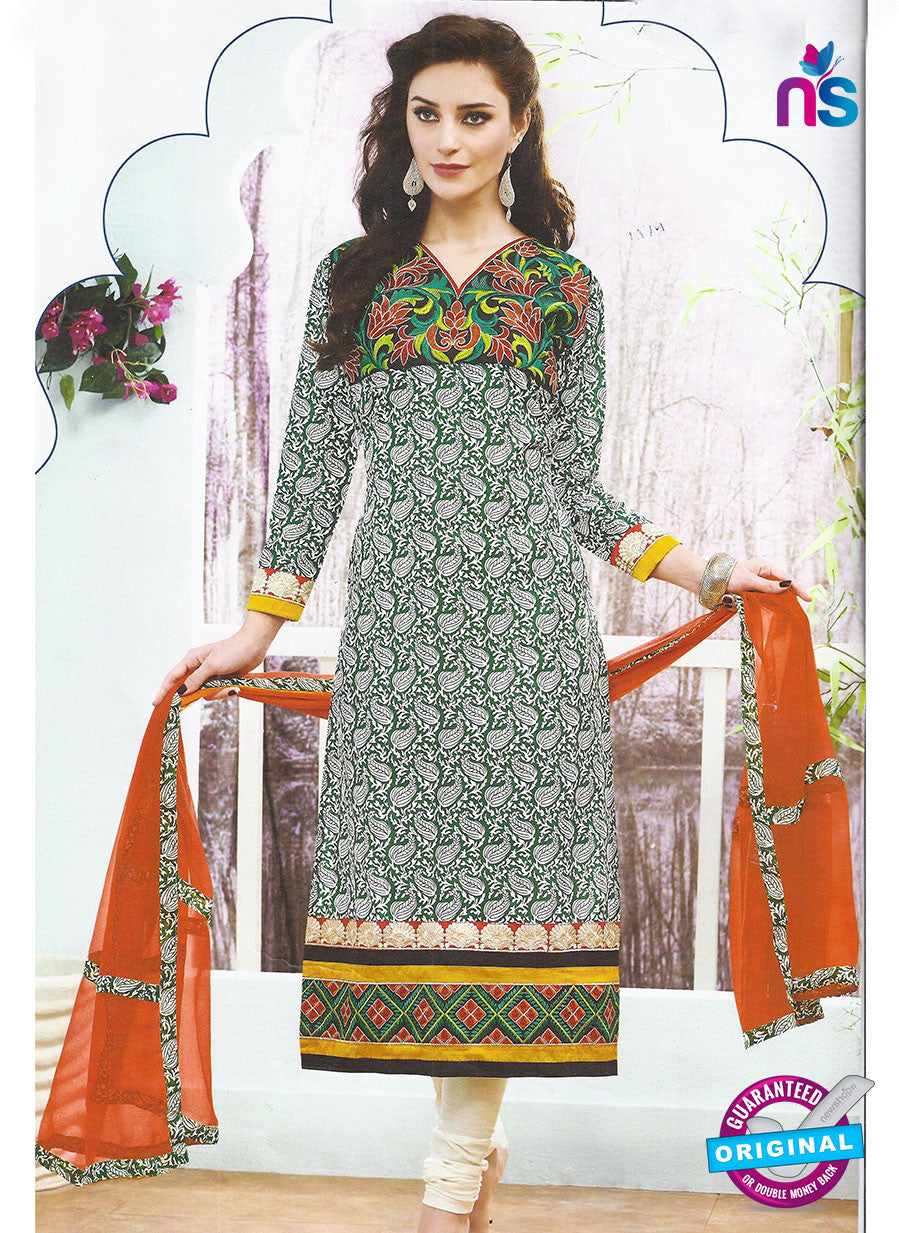 SC 12795 Green and White Embroidered Cotton Party Wear Suit