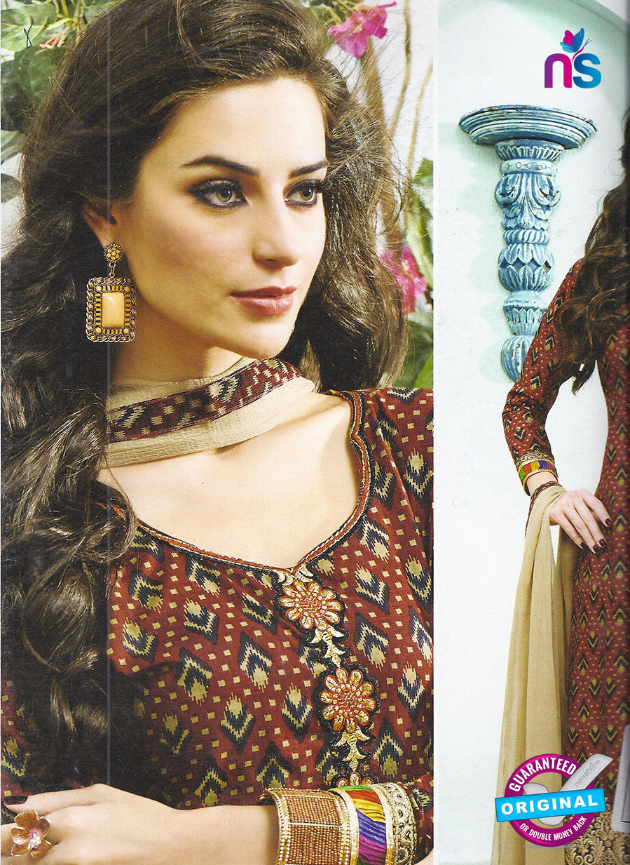 SC 12796 Brown Embroidered Cotton Party Wear Suit