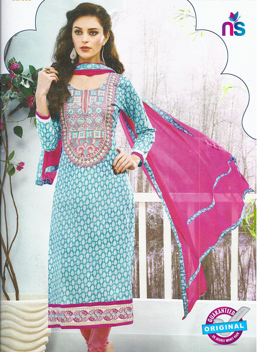 SC 12798 Sea Blue and Pink Embroidered Cotton Party Wear Suit