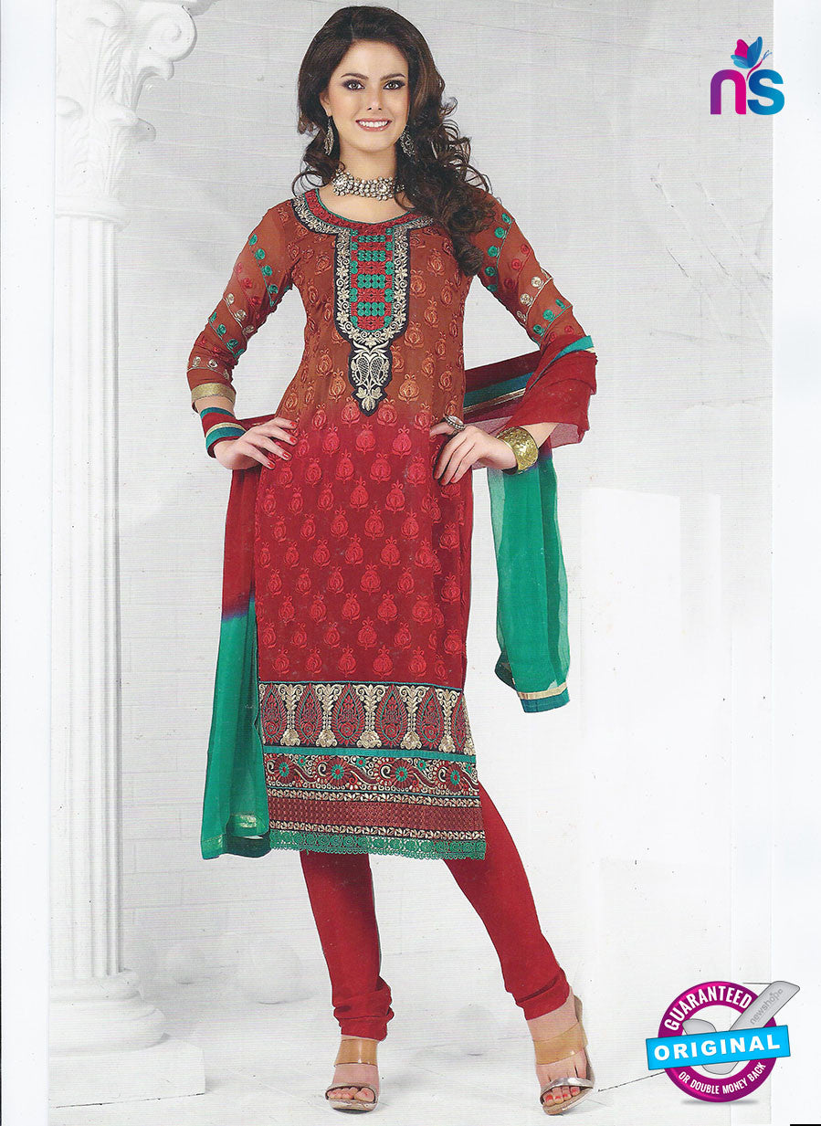 SC 12844 Brown and Red Georgette Party Wear Designer Suit