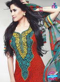 SC 12846 Red and Green Cotton Designer Suit