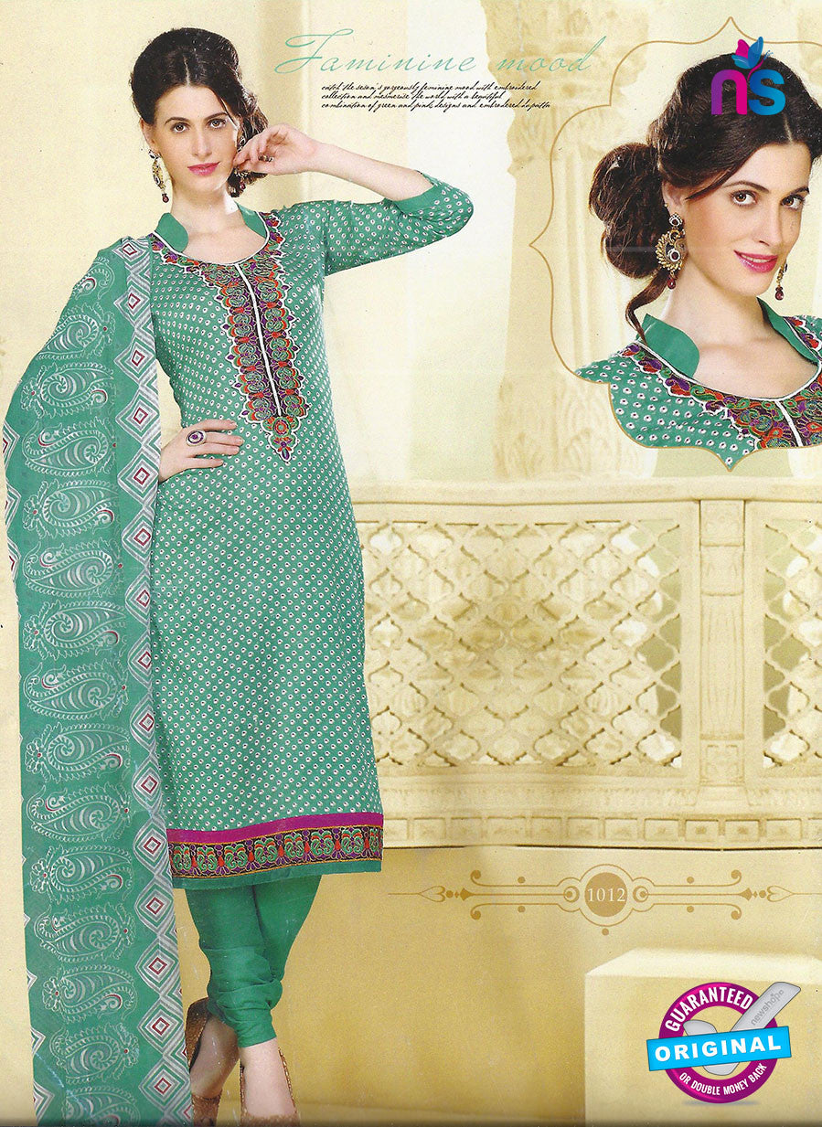 SC 12849 Sea Green and White Cotton Designer Suit