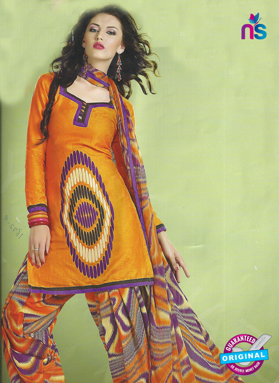 SC 12850 Yellow and Multicolor Cotton Designer Suit