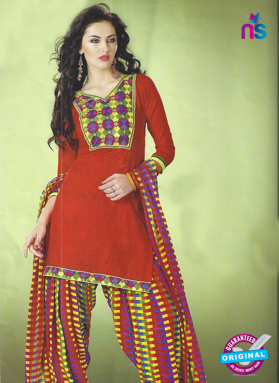 SC 12851 Red and Multicolor Cotton Designer Suit