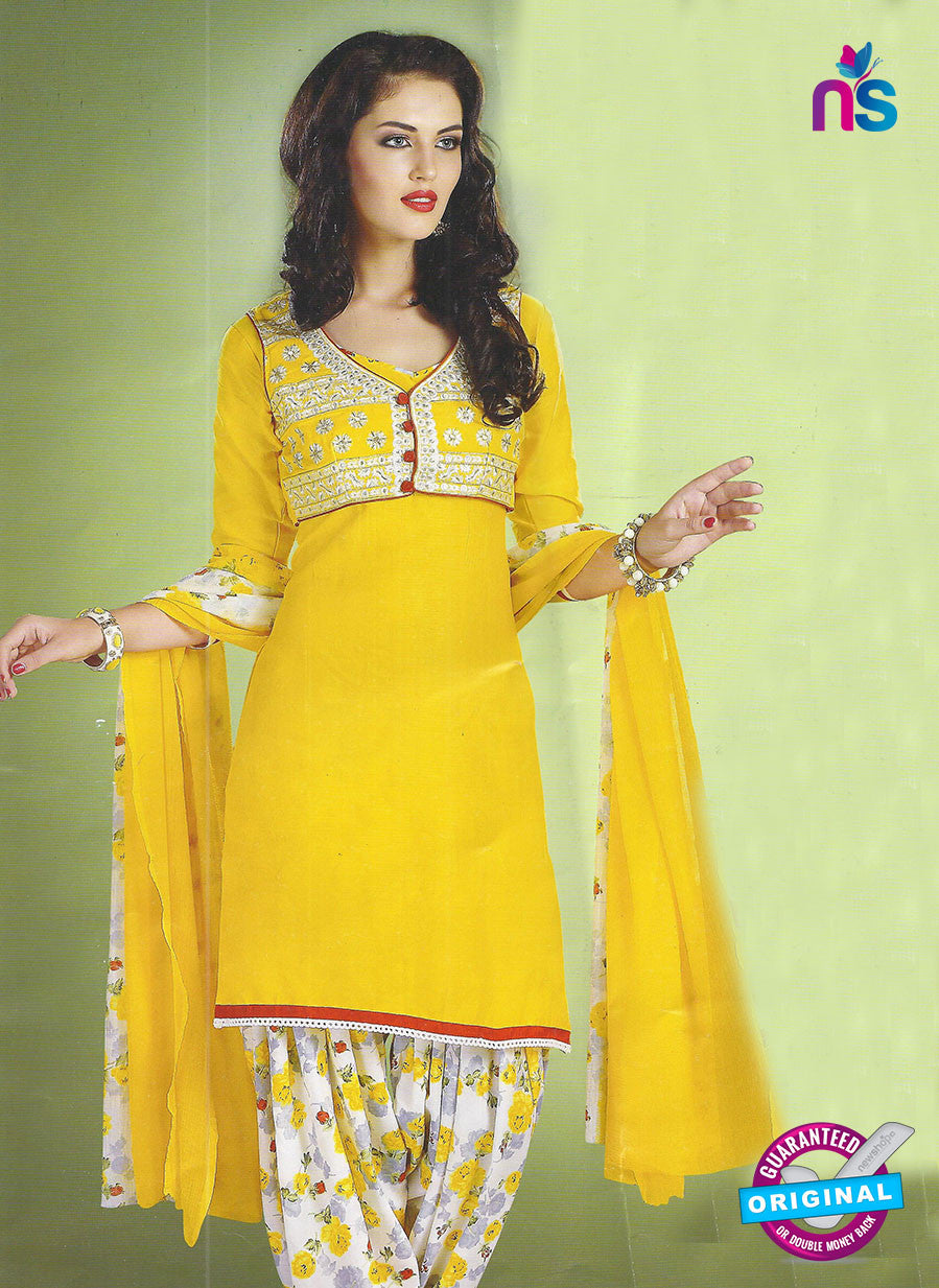 SC 12852 Yellow and White Cotton Designer Suit