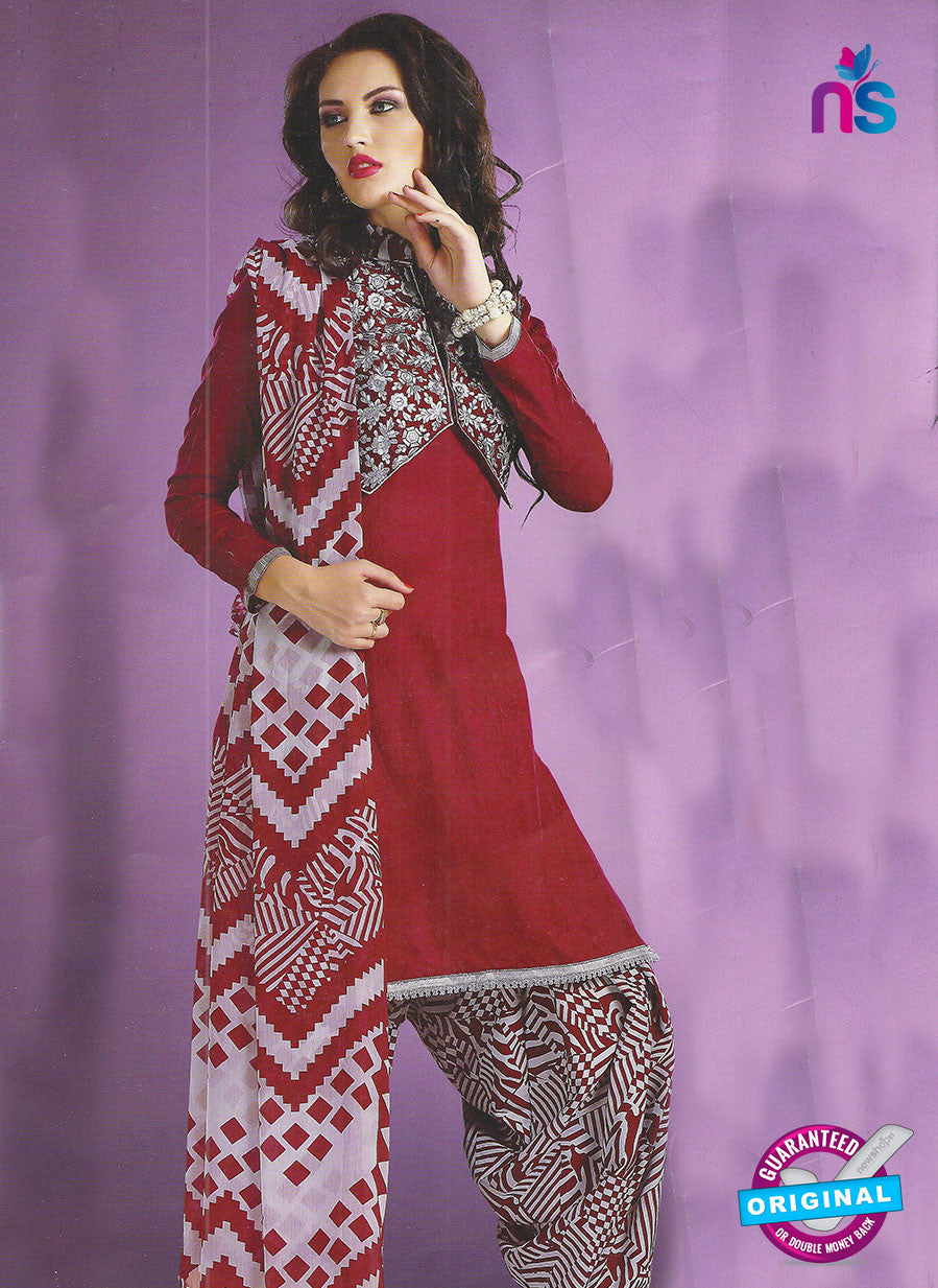 SC 12853 Maroon and Grey Cotton Designer Suit