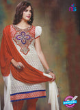 SC 12858 White and Red Cottom Designer Suit