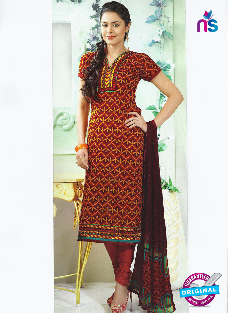 SC 12859 Maroon and Brown  Cotton Designer Suit
