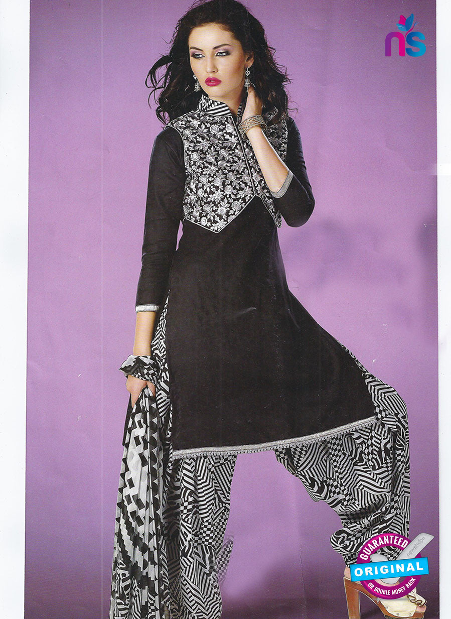 SC 12863 Black and Grey Cotton Designer Suit