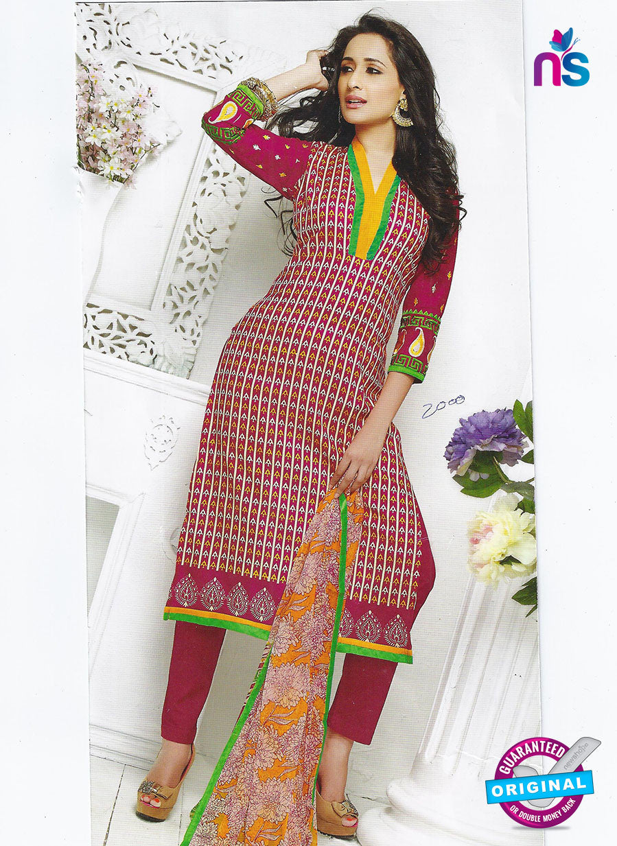 SC 12864 Pink and Multicolor Cotton Designer Suit