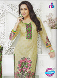SC 12866 Beige and Green Cotton Designer Suit