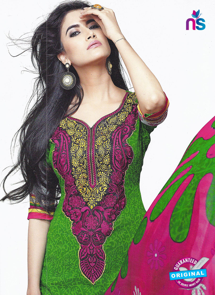 SC 12867 Green and Pink Cotton Designer Suit