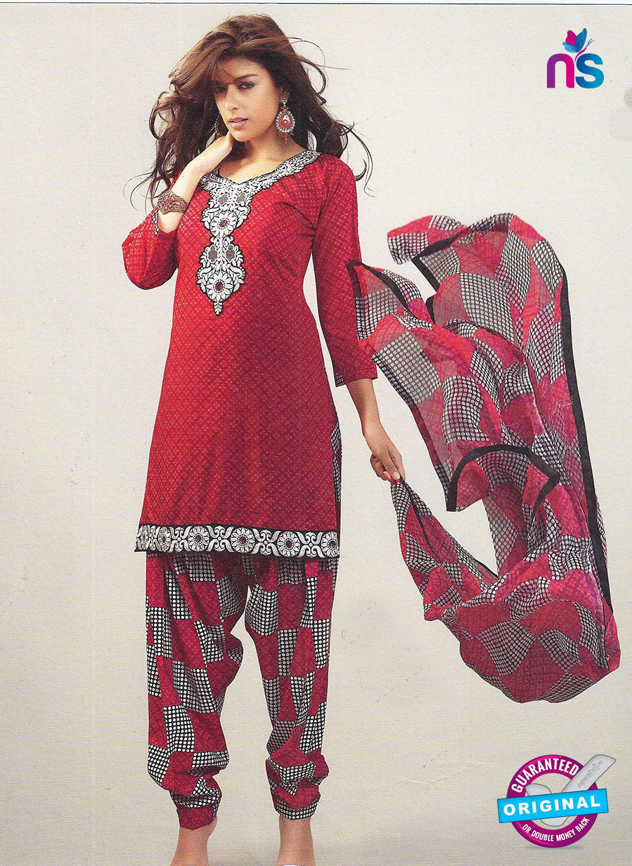 SC 12868 Red, Black and White Cotton Designer Suit