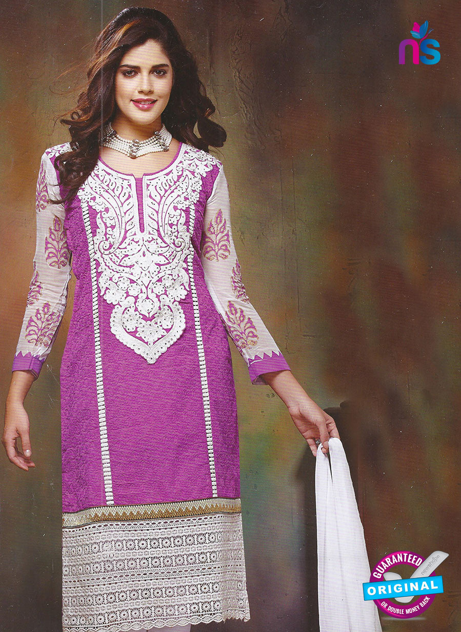 SC 12869 Purple and White Cotton Designer Suit