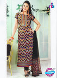 SC 12872 Black and Multicolor Cotton Designer Suit