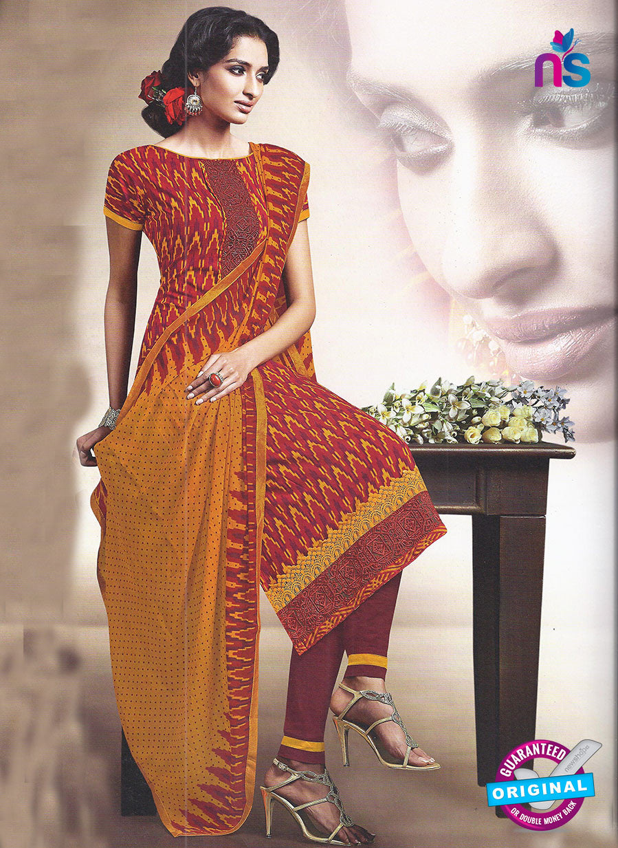 SC 12879 Maroon, Yellow and Red Cotton Designer Suit