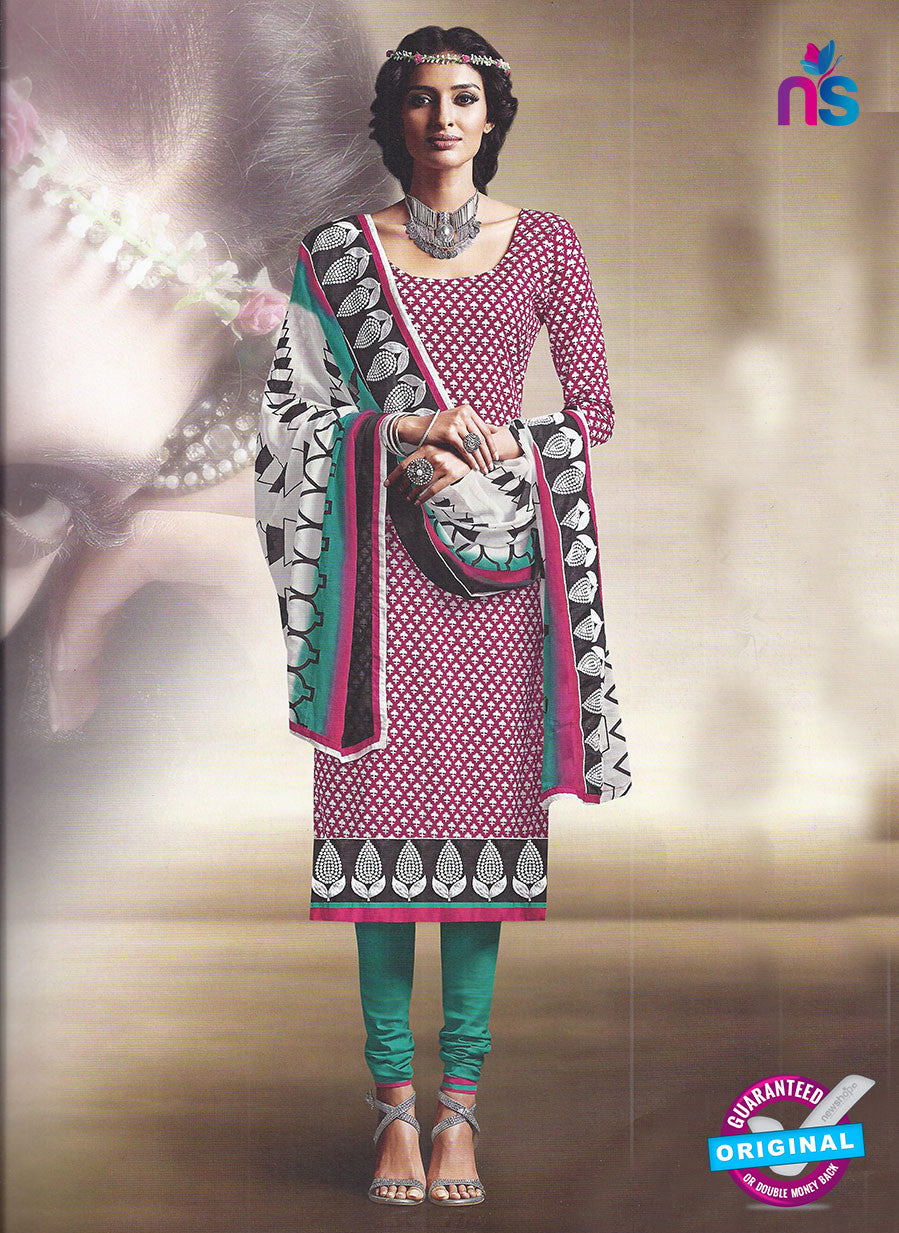SC 12881 Pink, White and Green Cotton Designer Suit