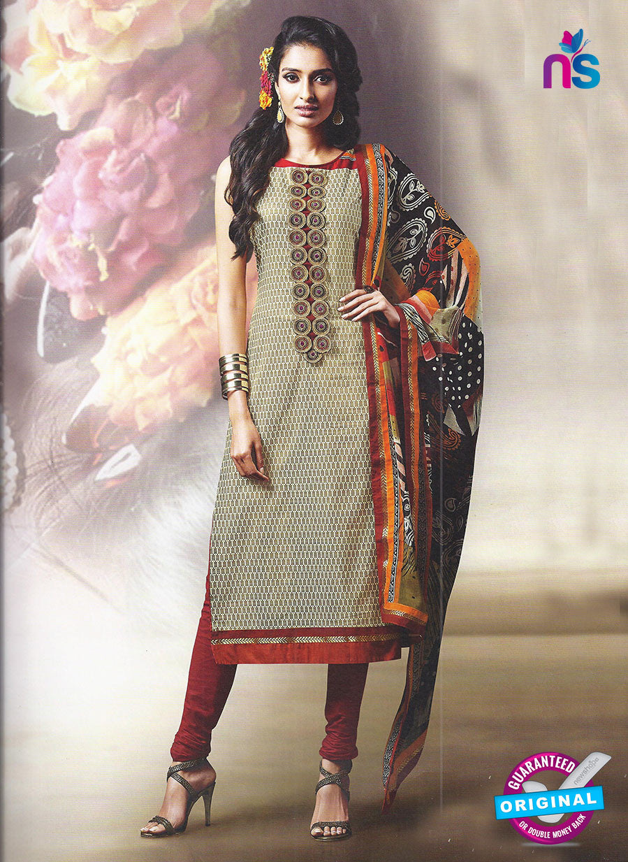 SC 12882 Yellow and Maroon Cotton Designer Suit