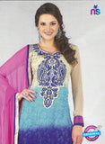 SC 12886 Beige, Blue and Pink Georgette Designer Suit