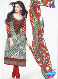 SC 12888 Red, Green and White Cotton Designer Suit