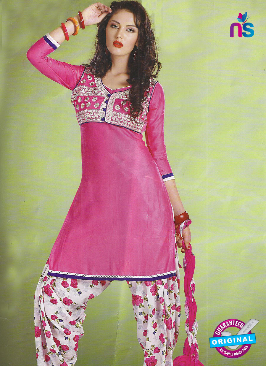 SC 12889 Pink and White Cotton Designer Suit