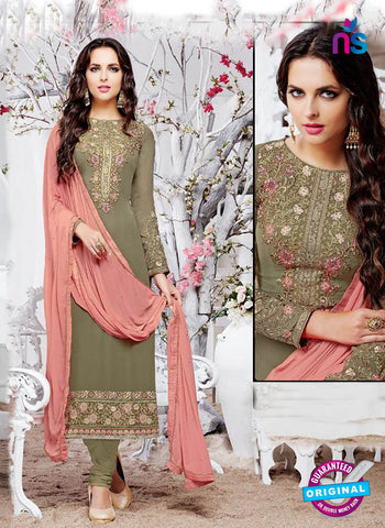 Zubeda 12906 Mehandi Green Party Wear Suit