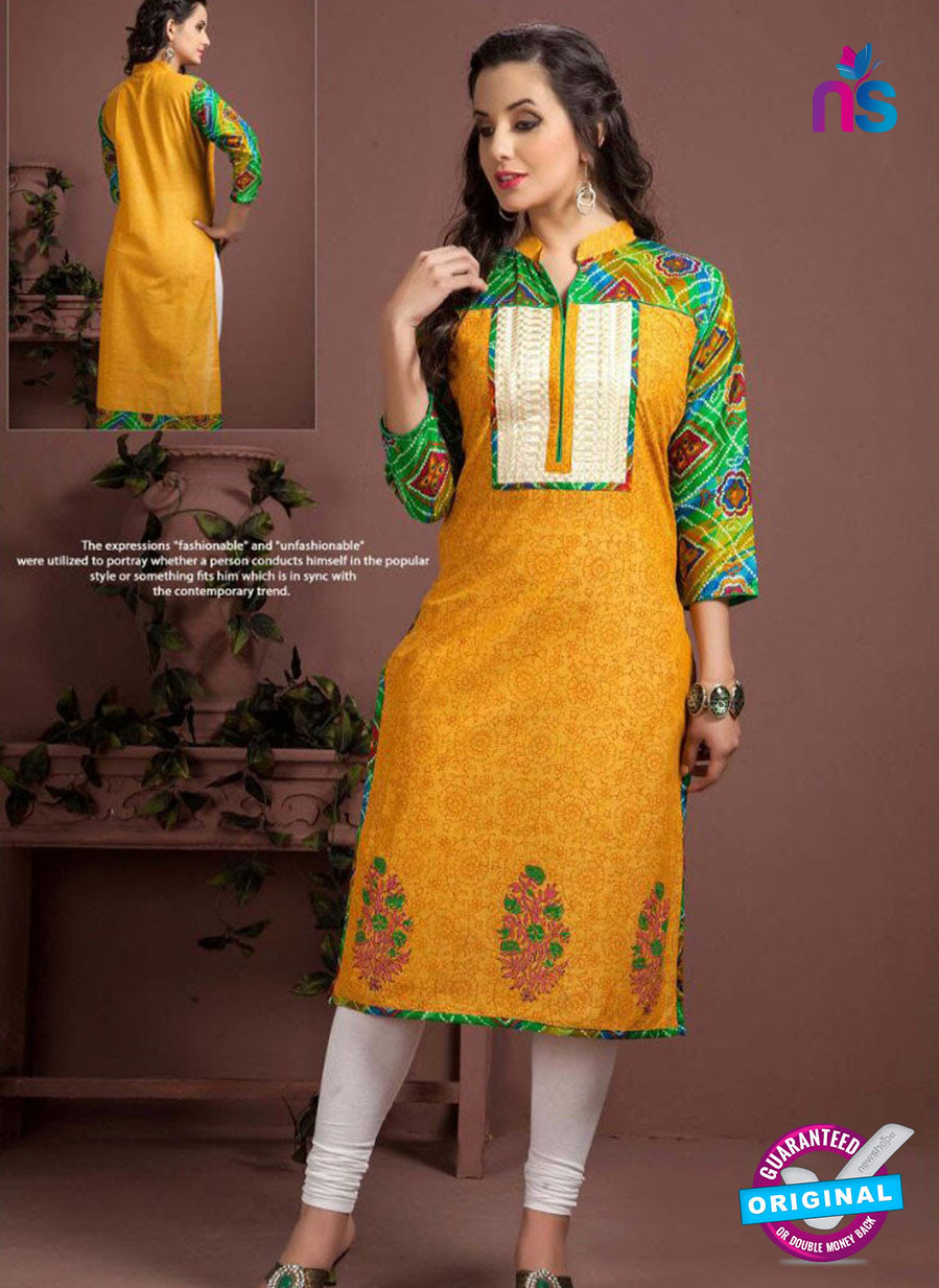 SC 13350 Yellow and Multicolor Printed Handloom Cotton Kurti