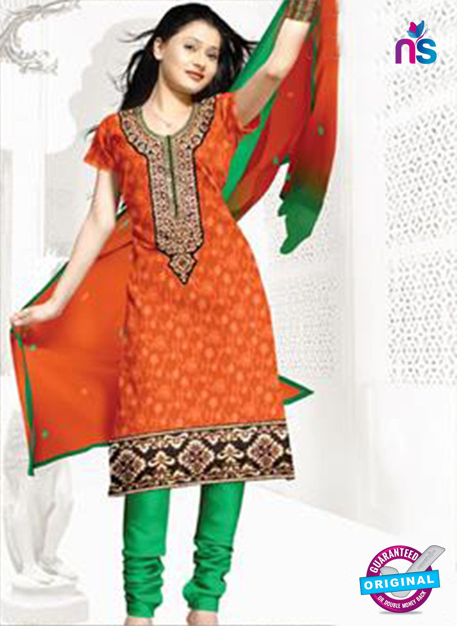 NS12251 Orange and Green Chudidar Suit