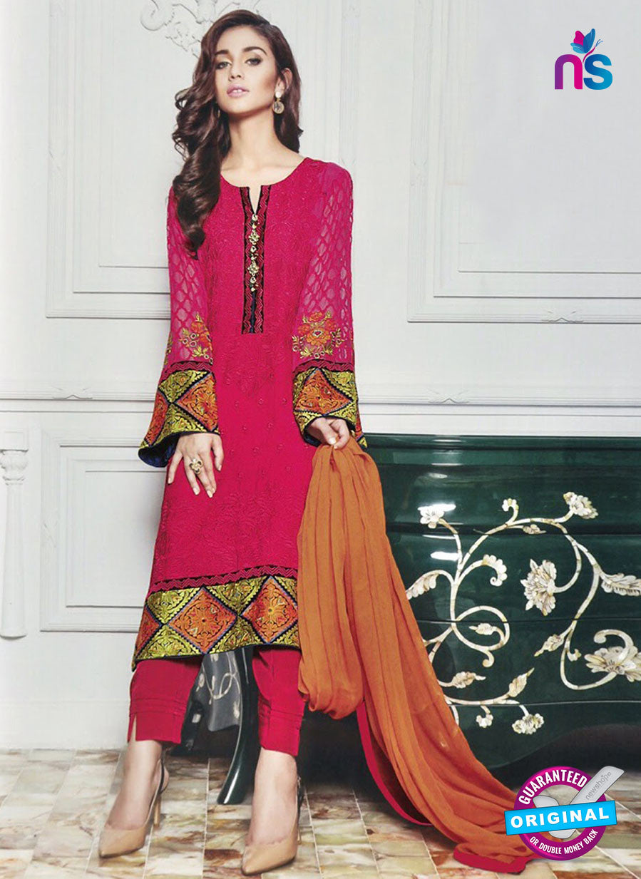 SC 13035 Designer Pink Embroidered Georgette Pakistani Suit