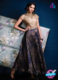 Ishimaya 12 Blue and Brown Net Satin Designer Gawn