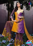 NS 12296 Yellow and Purple Cotton Satin Party Wear Plazzo Suit Online