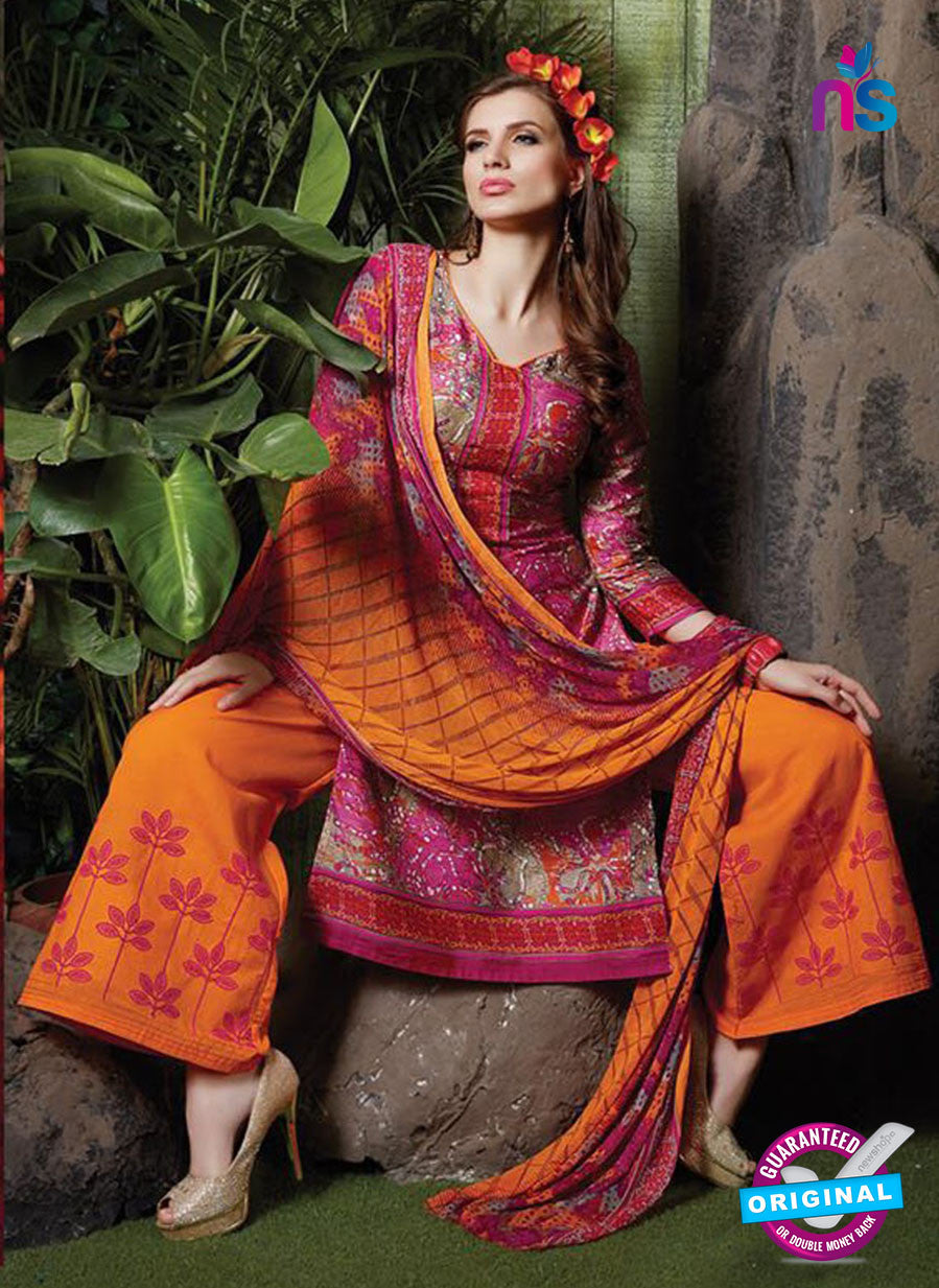 SC 13720 Magenta and Orange Designer Exclusive Fancy Un-stitched Straight Plazo Suit