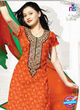 NS12251 Orange and Green Chudidar Suit Online