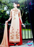SC 12747 Beige and Red Embroidered Georgette Party Wear Plazzo Suit