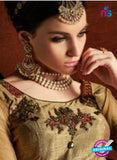 AZ 3373 Beige and Grey Satin and Silk Fancy Function Wear Designer Anarkali Suit