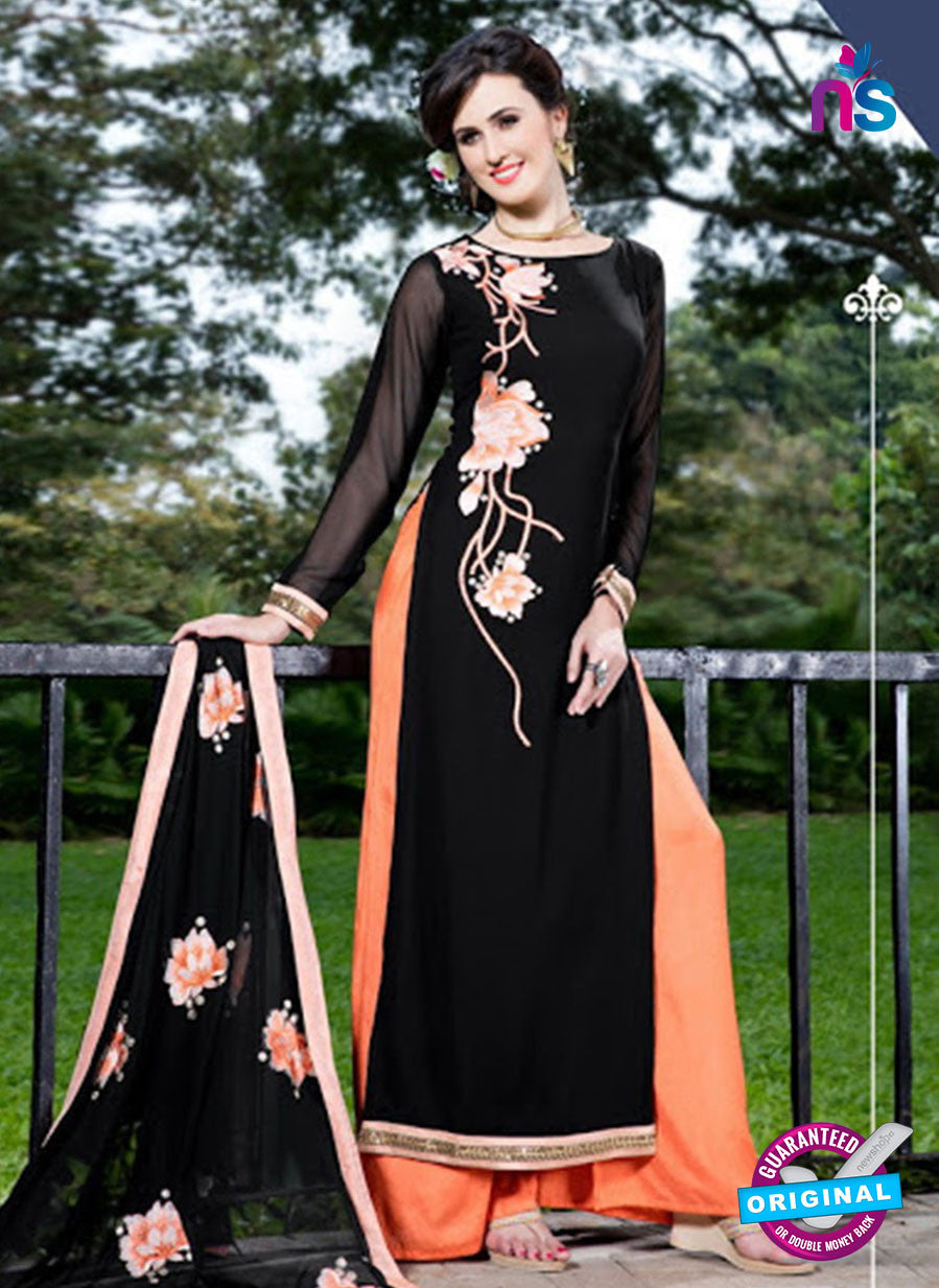 SC 12751 Black and Orange Embroidered Georgette Party Wear Plazzo Suit