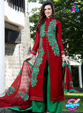 SC 12749 Red and Green Embroidered Georgette Party Wear Plazzo Suit