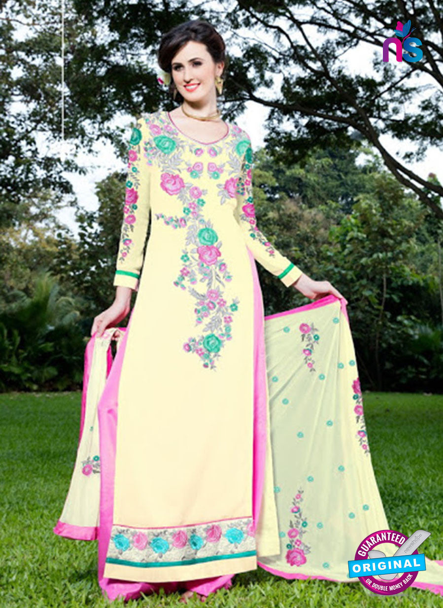SC 12748 Yellow and Pink Embroidered Georgette Party Wear Plazzo Suit