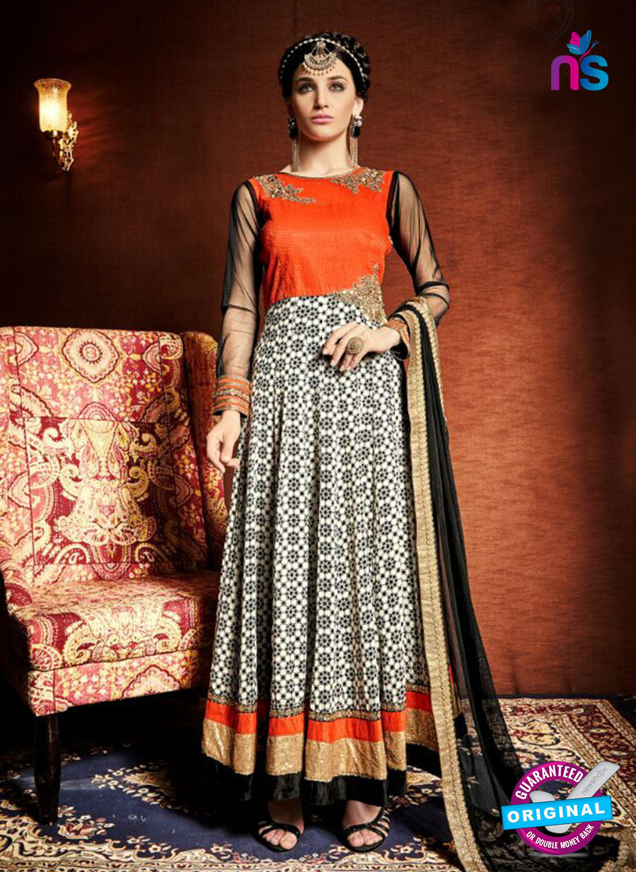 AZ 3376 Orange and White Satin and Silk Fancy Function Wear Designer Anarkali Suit