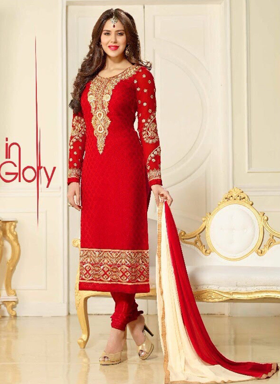 Lavina 13304  Red Color Brasso Designer Suit