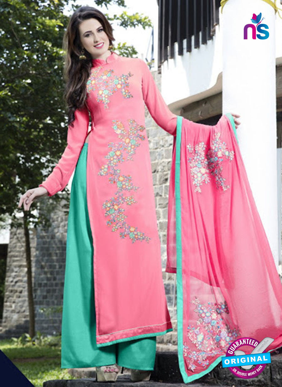 SC 12750 Pink and Green Embroidered Georgette Party Wear Plazzo Suit