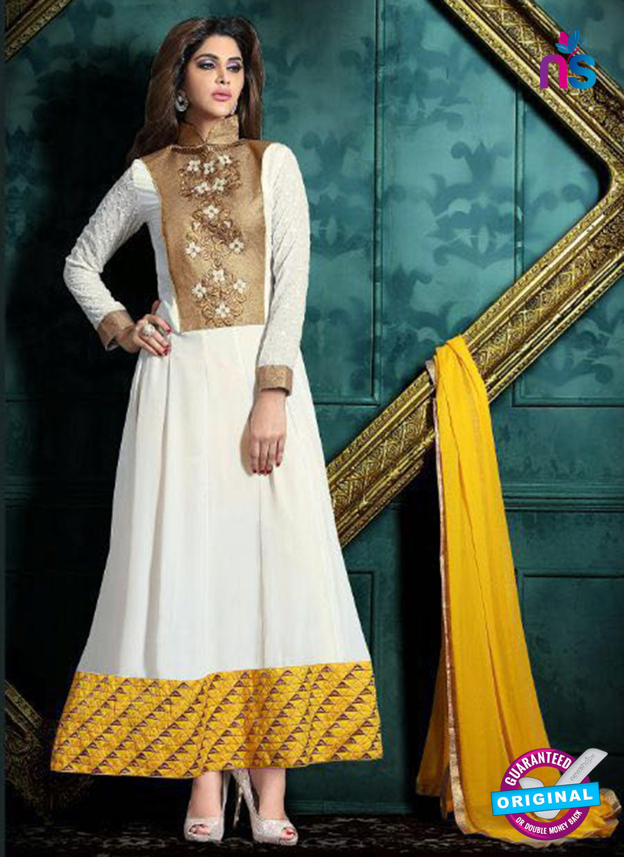 white georgette anarkali suit