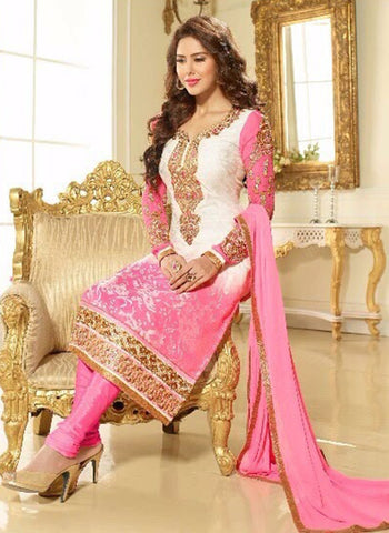 Lavina 13305  Pink & White Brasso Cotton Designer Suit