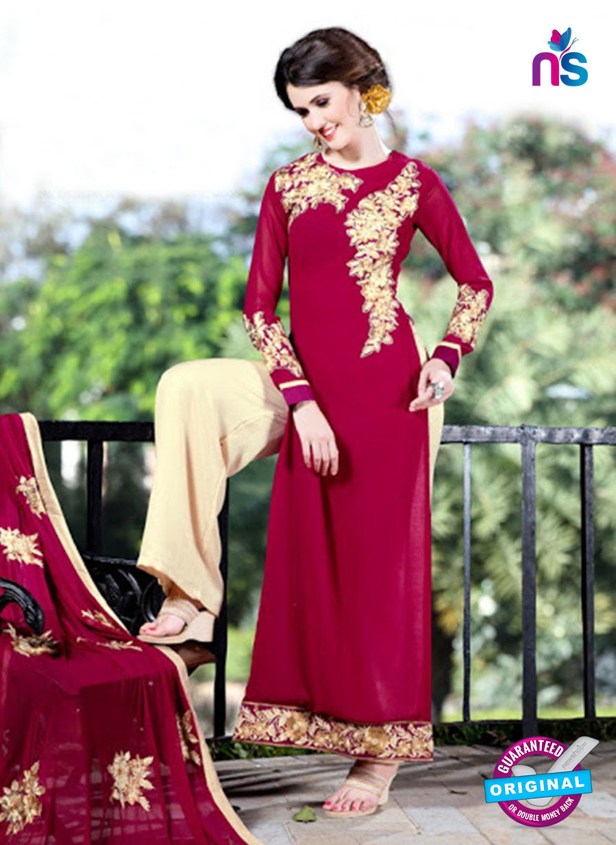 SC 12745 Red and Beige Embroidered Georgette Party Wear Plazzo Suit