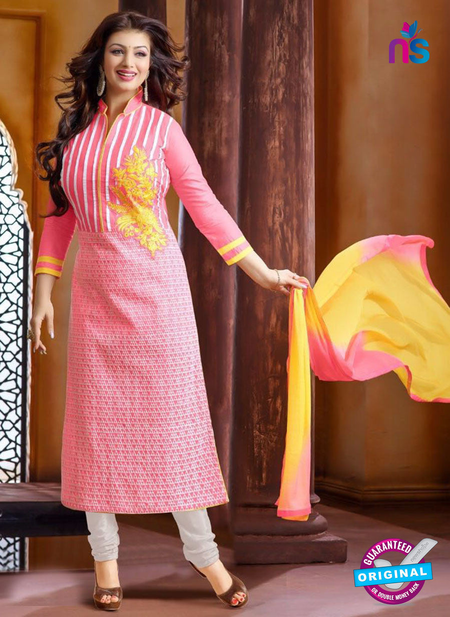 Ennayaa 13006 - Pink & White Color Cambric Cotton Designer Suit