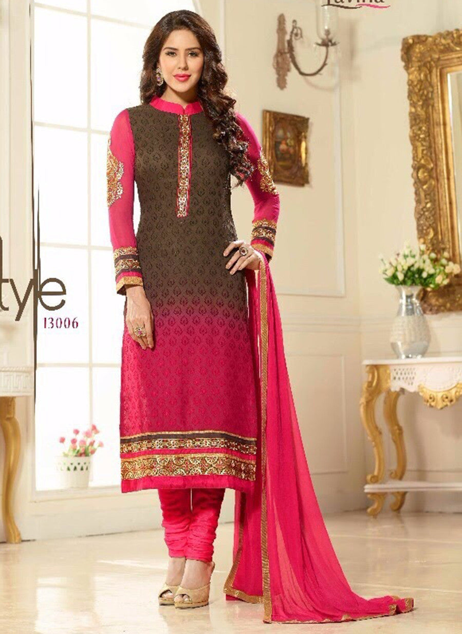Lavina 13306  Black & Pink Color Brasso Designer Suit