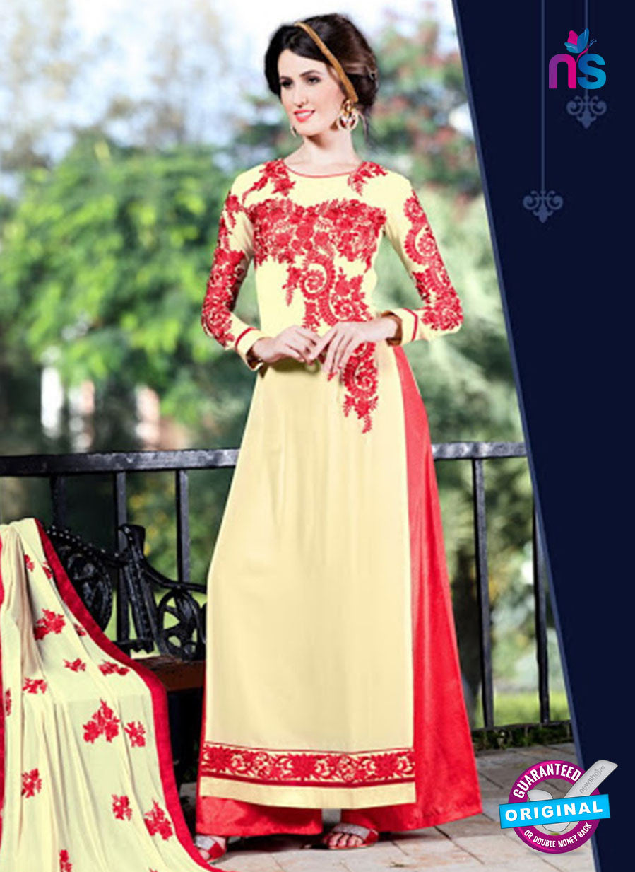 SC 12744 Beige and Red Embroidered Georgette Party Wear Plazzo Suit