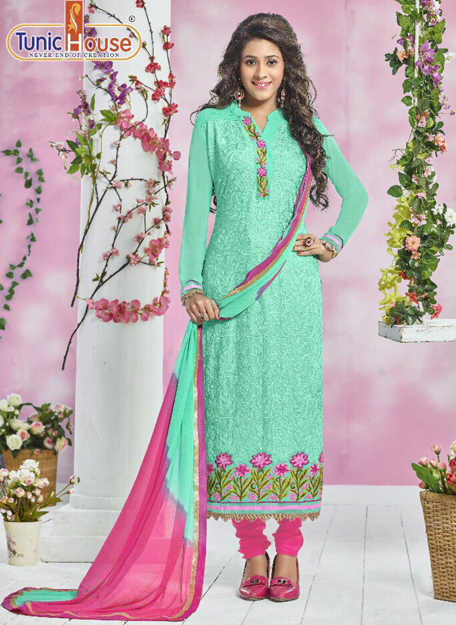 NS11812 Sea Green & Pink Color Georgette Designer Suit